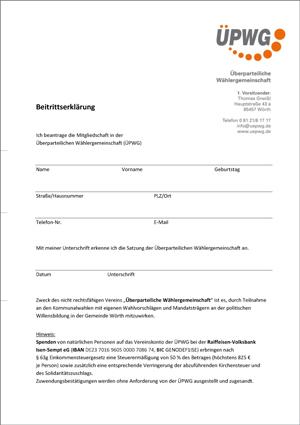 Beitrittserklärung ÜPWG